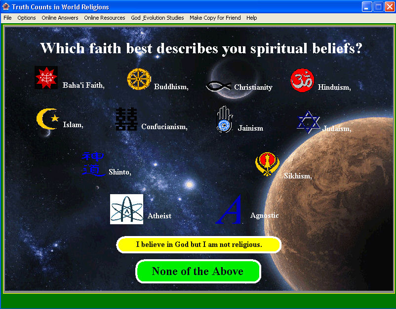 Analyzes World Religions, your World View and Biblical World View.